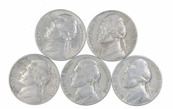 Lot of 5 1950's Jefferson Nickels - Various Dates - Tough - US Coins