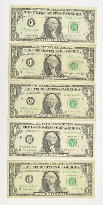 Lot of 5 1963 Joseph Barr $1.00 Notes - Collectible - Very short time printed!
