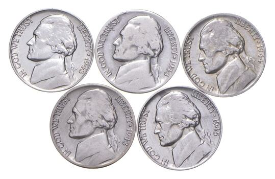 Lot of 5 Higher Grade 1942-1945 Wartime War Nickel Silver Lot