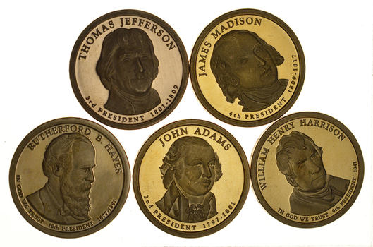 Lot of 5 Proof Presidential Dollars - Made in San Francisco