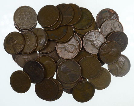 Lot of 50 'S' San Francisco Mint Marked Lincoln Wheat Cent - 1940-55