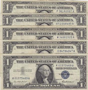 Lot of Five 1957 Series $1 Blue Seal Silver Certificates, Old U.S. Currency