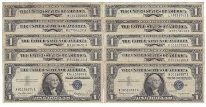 Lot of Ten 1957 Series $1 Blue Seal Silver Certificates - Old U.S. Currency