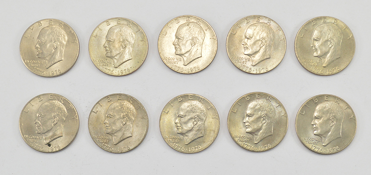 Lot of 10 - 1776-1976 Bicentennial Clad Eisenhower Dollars - 1776-1976 Bicentennial One Year Variety