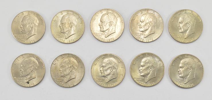 Lot of10 -1776-1976 BicentennialClad Eisenhower Dollars - 1776-1976 Bicentennial One YearVariety