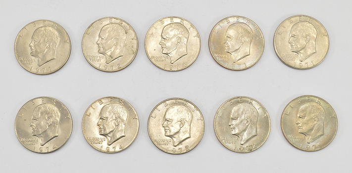 Lot of10 - 1971-1978 Clad Eisenhower Dollars - Chosen at Random