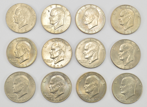 Lot of 12 - 1971-1978 Clad Eisenhower Dollars - Chosen at Random