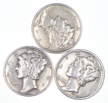 Lot of3 AU/Unc 1942, 1944, 1945 Mercury Dimes 90% Silver Collection