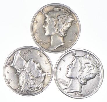 Lot of3 AU/Unc 1945-S, 1940, 1942-D Mercury Dimes 90% Silver Collection
