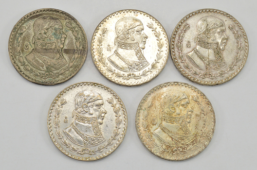 Lot of 5 -  1957-1967 Mexico Silver Pesos