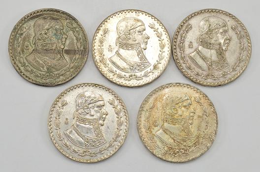 Lotof 5 - 1957-1967 Mexico SilverPesos