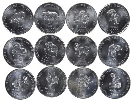LUNAR SET - Lot of 12 2000 Somoa 10 Shilling Coins - 12 Different Animal Designs