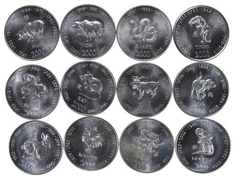 LUNAR SET - Lot of 12 2000 Somoa 10 Shilling Coins - 12 Different Animal Designs