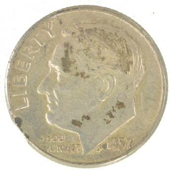 Major Error - Clipped Planchet Error - 90% Silver Roosevelt Dime - 1957 - Neat