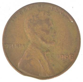 Major Error - Clipped Planchet Error - Lincoln Cent - 1968-D - Neat