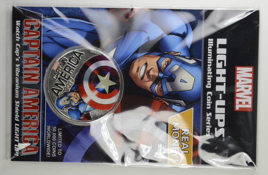 Marvel LIGHT-UPS - Fiji 2017 50 Cents - Captain America - LOW MINTAGE