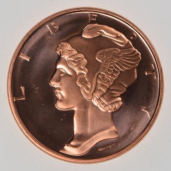 Mercury Head - .999 Fine Copper 1 Oz Round