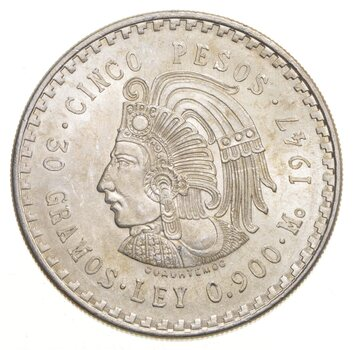MEXICO 1947 5 PESOS SOLID SILVER COIN AZTEC CHIEFTAIN LOW MINTAGE UNCIRCULATED