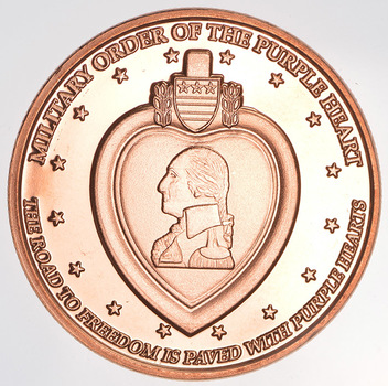 Military Purple Heart Award - 1 Oz .999 Fine Copper Round