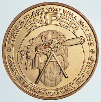 Military SNIPER Series - One Oz .999 Fine Copper Round - Limited Edition