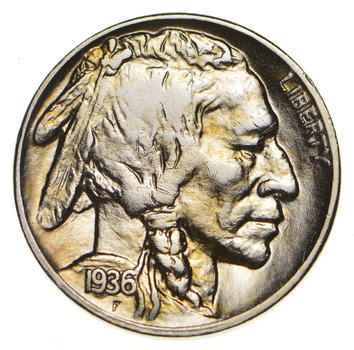 Mint Marked - FULL Horn - 1936-D Buffalo Nickel - SHARP