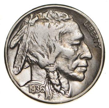 Mint Marked - FULL Horn - 1936-S Buffalo Nickel - SHARP