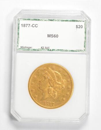MS60 1877-CC $20 Liberty Head Gold Double Eagle - Graded PCI