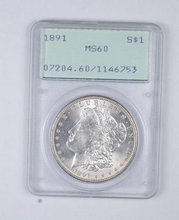 MS60 1891 Morgan Silver Dollar - Graded PCGS
