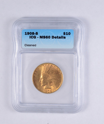MS60 Details 1908-S $10.00 Indian Head Gold Eagle - JRXX - Graded ICG