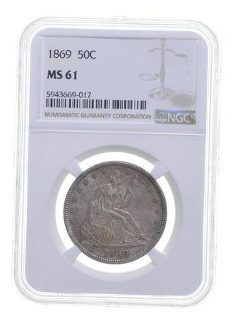 MS61 1869 Seated Liberty Half Dollar - Graded NGC