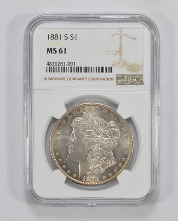 MS61 1881-S Morgan Silver Dollar - NGC Graded
