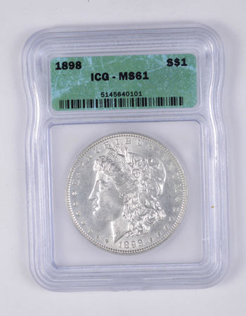 MS61 1898 Morgan Silver Dollar - Graded ICG