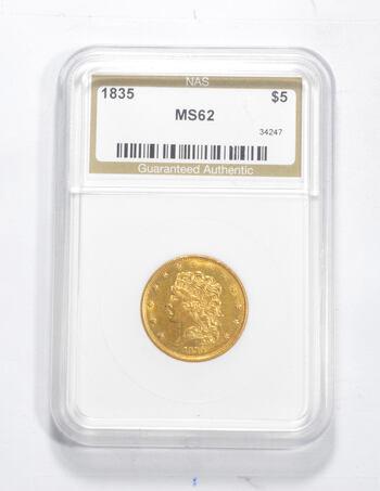 MS62 1835 $5.00 Classic Head Gold Half Eagle - Graded NAS