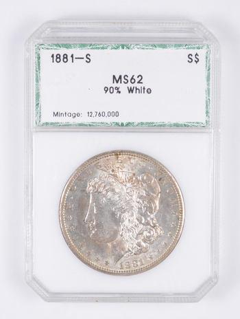 MS62 1881-S Morgan Silver Dollar - 90% White - Graded PCI