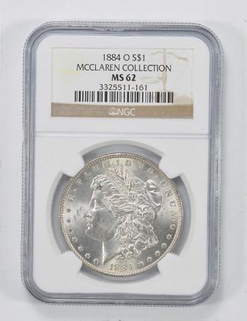 MS62 1884-O Morgan Silver Dollar - McClaren Collection - NGC Graded