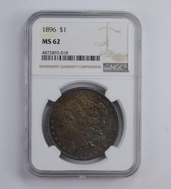 MS62 1896 Morgan Silver Dollar - Toned - Graded NGC