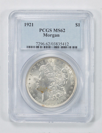 MS62 1921 Morgan Silver Dollar - PCGS Graded