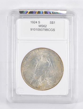 MS62 1924-S Peace Silver Dollar - Graded PCGS