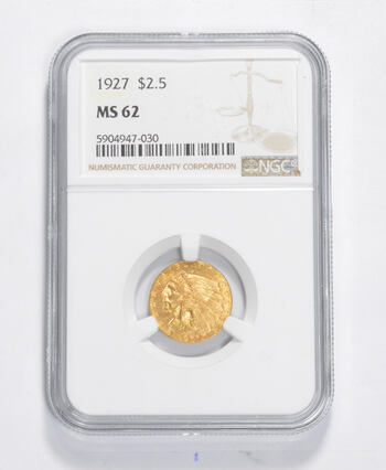 MS62 1927 $2.50 Indian Head Gold Quarter Eagle - Graded NGC