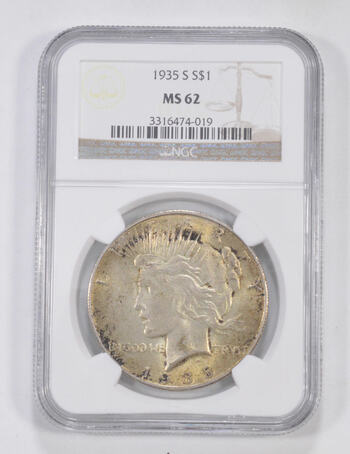 MS62 1935-S Peace Silver Dollar - Graded NGC