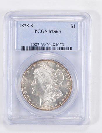MS63 1878-S Morgan Silver Dollar - Graded PCGS