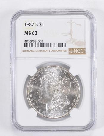 MS63 1882-S Morgan Silver Dollar - Graded NGC