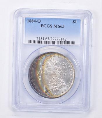 MS63 1884-O Morgan Silver Dollar - Rainbow Toned - Graded PCGS