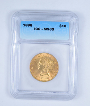 MS63 1896 $10.00 Liberty Head Gold Eagle - Graded by ICG