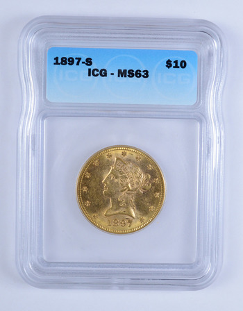 MS63 1897-S $10.00 Liberty Head Gold Eagle - ICG Graded