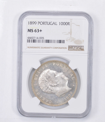 MS63+ 1899 Portugal 1000 Reis - Graded NGC