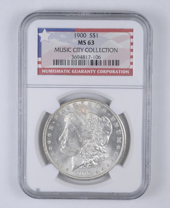 MS63 1900 Morgan Silver Dollar - Music City Collection - Graded NGC