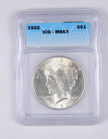 MS63 1922 Peace Silver Dollar - Graded ICG