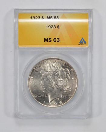 MS63 1923 Peace Silver Dollar - ANACS Graded