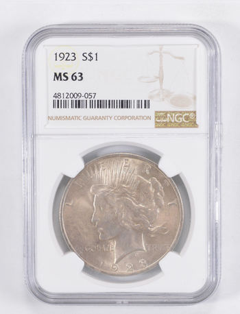 MS63 1923 Peace Silver Dollar - Graded NGC